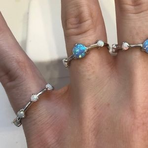 Set of 4 opal rings - sterling silver